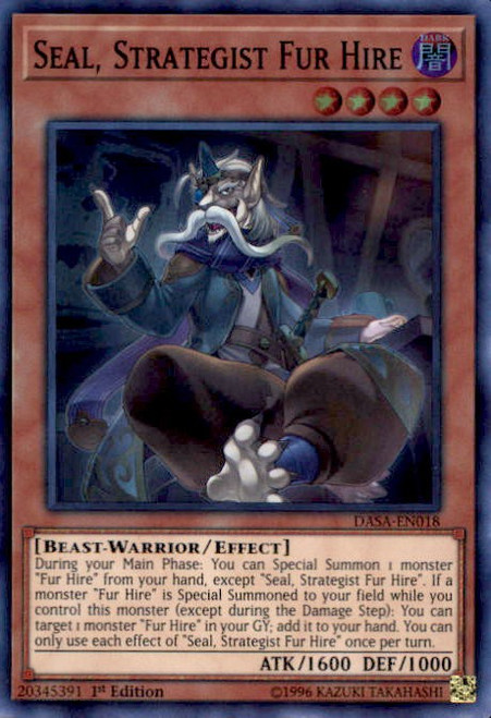 YuGiOh Dark Saviors Super Rare Seal, Strategist Fur Hire DASA-EN018