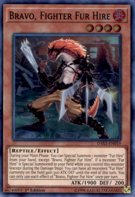 YuGiOh Dark Saviors Super Rare Bravo, Fighter Fur Hire DASA-EN019