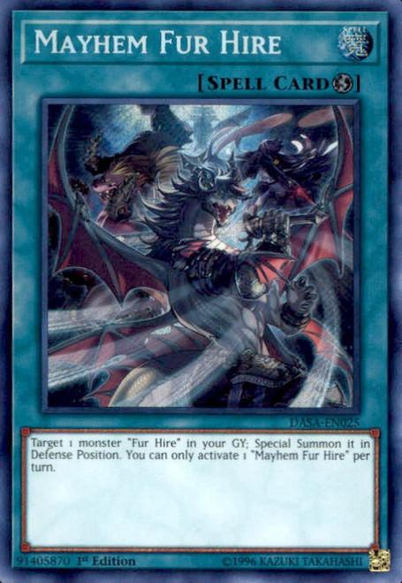 YuGiOh Dark Saviors Secret Rare Mayhem Fur Hire DASA-EN025