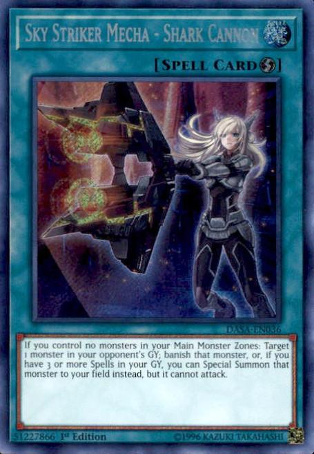 YuGiOh Dark Saviors Secret Rare Sky Striker Mecha - Shark Cannon DASA-EN036