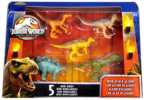 Jurassic World Tyrannosaurus Rex, Velociraptor, Parasaurolophus, Stegosaurus & Pachycephalosaurus 2-Inch Mini Dinosaur Figure 5-Pack