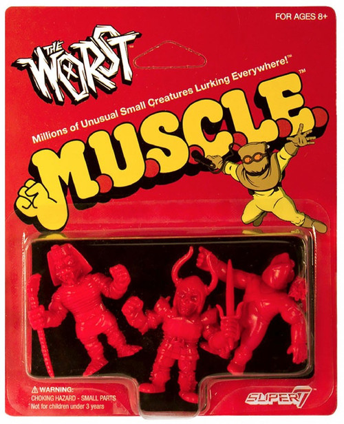 M.U.S.C.L.E. The Worst Red Pack A - Black Falcon, Snake Tut, and X-2 (The Unknown) 1.75-Inch 3-Pack