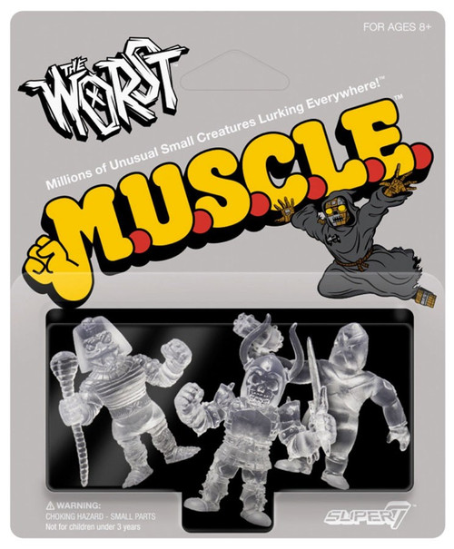 M.U.S.C.L.E. The Worst Clear Pack A - Black Falcon, Snake Tut, and X-2 (The Unknown) 1.75-Inch 3-Pack