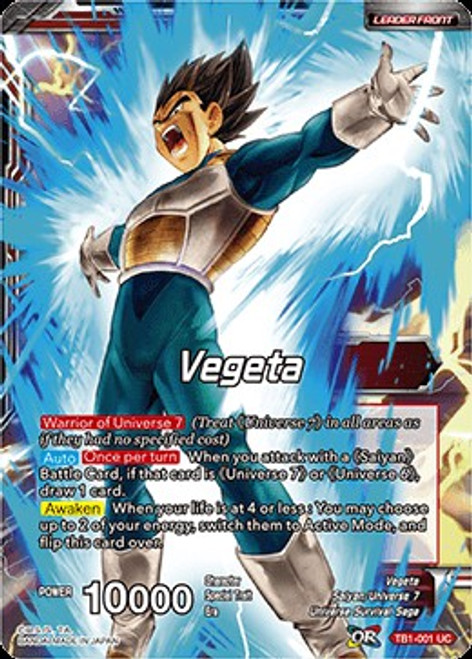 Dragon Ball Super Collectible Card Game Tournament of Power Uncommon Vegeta TB1-001