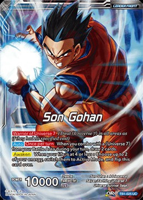 Dragon Ball Super Trading Card Game Tournament of Power Uncommon Son Gohan TB1-025