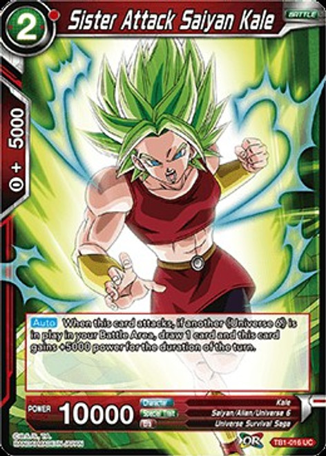 Dragon Ball Super Collectible Card Game Tournament of Power Uncommon Sister Attack Saiyan Kale TB1-016
