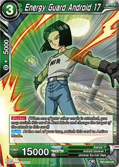 Dragon Ball Super Collectible Card Game Tournament of Power Uncommon Energy Guard Android 17 TB1-054