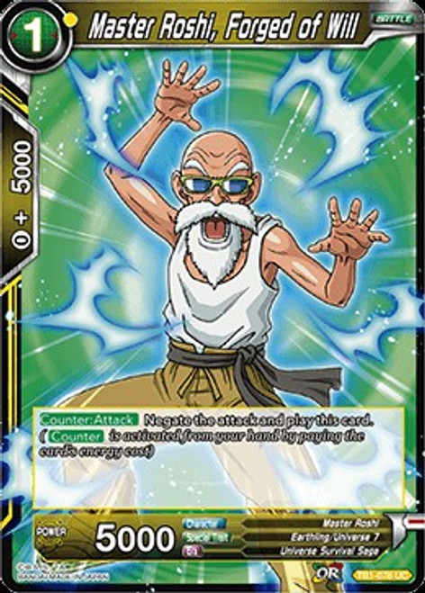Dragon Ball Super Collectible Card Game Tournament of Power Uncommon Master Roshi, Forged of Will TB1-076
