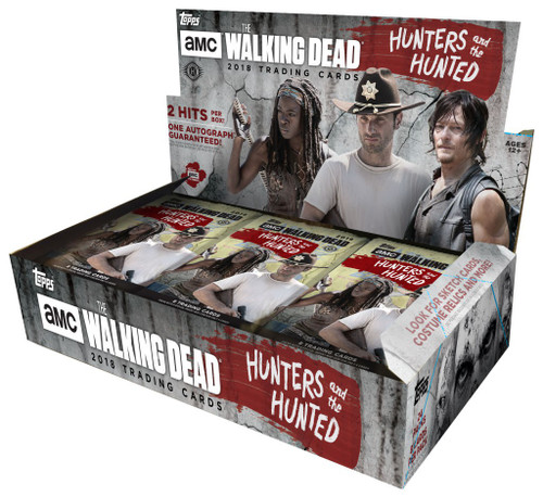 The Walking Dead Topps 2018 Hunters & The Hunted Trading Card HOBBY Box [24 Packs, 2 Hits Per Box!]