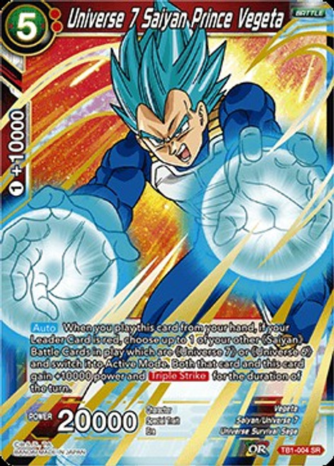 Dragon Ball Super Collectible Card Game Tournament of Power Super Rare Universe 7 Saiyan Prince Vegeta TB1-004