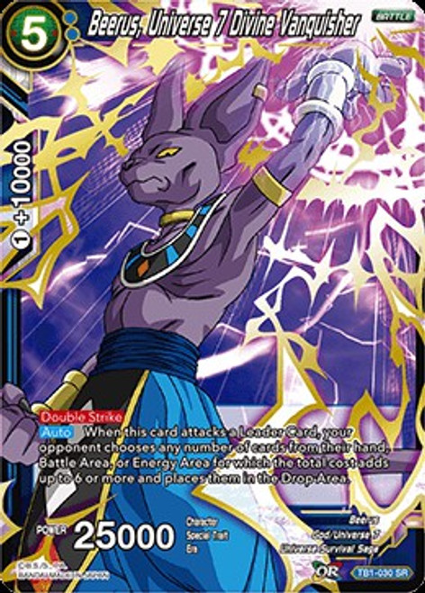 Dragon Ball Super Collectible Card Game Tournament of Power Super Rare Beerus, Universe 7 Divine Vanquisher TB1-030
