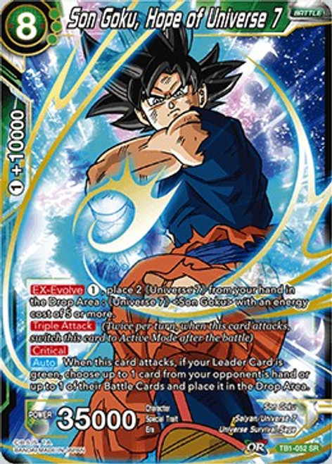 Dragon Ball Super Collectible Card Game Tournament of Power Super Rare Son Goku, Hope of Universe 7 TB1-052