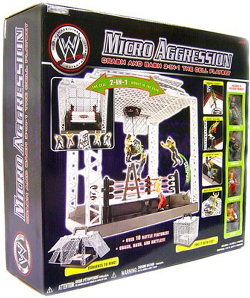 WWE Wrestling Micro Aggression Crash & Bash 2 in 1 Cell Ring Playset