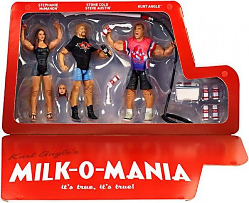 WWE Wrestling Elite Collection Epic Moments Kurt Angle, Steve Austin & Stephanie McMahon Action Figure 3-Pack [Milk-O-Mania]