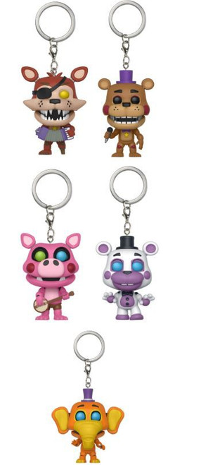 Funko Five Nights at Freddy's Pizza Simulator Rockstar Freddy, Foxy, Pigpatch, Helpy & Orville Set of 5 Keychains