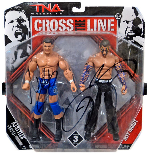 TNA Wrestling Cross the Line Series 3 AJ Styles & Jeff Hardy Action Figure 2-Pack [Autographed]