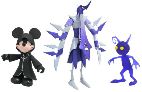 Disney Kingdom Hearts Series 3 Black Coat Mickey Mouse with Shadow Assassin & Shadow Action Figure Set