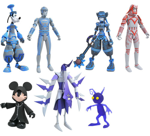 Disney Kingdom Hearts Series 3 Mickey with Shadows, Goofy with Tron & Shadow & Sora with Donald & Sark Action Figure Set