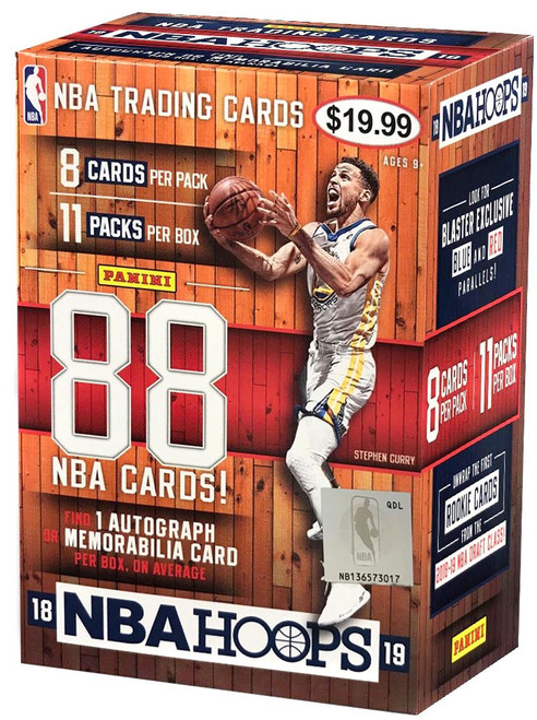 NBA Panini 2018-19 Hoops Basketball Trading Card BLASTER Box [11 Packs, 1 Autograph OR Memorabilia Card]