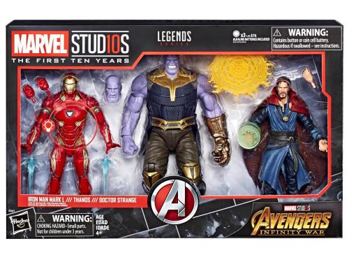 Avengers Infinity War Marvel Studios: The First Ten Years Marvel Legends Iron Man, Thanos & Doctor Strange Action Figure 3-Pack
