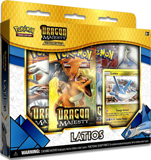 Pokemon Trading Card Game Dragon Majesty Latios Pin Collection [3 Booster Packs, Promo Card & Pin!]