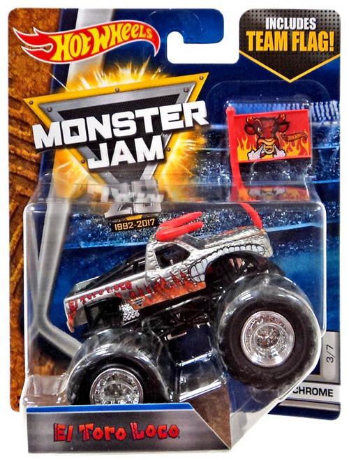 Hot Wheels Monster Jam El Toro Loco Die-Cast Car #3/7 [Chrome]