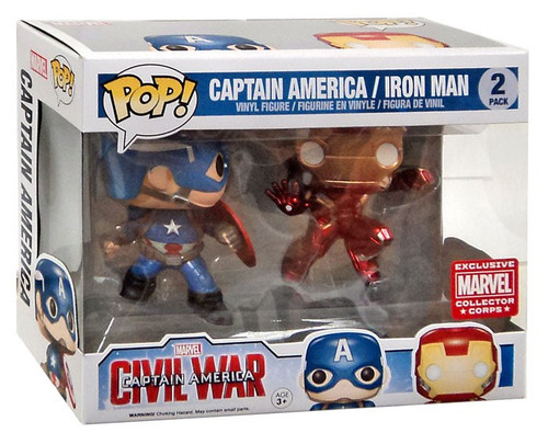 Funko POP! Marvel Captain America & Iron Man Exclusive Vinyl Figure 2-Pack [Damaged Package]