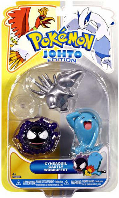 Pokemon Johto Edition Series 17 Silver Cyndaquil, Gastly & Wobbuffet Figure 3-Pack [Damaged Package]