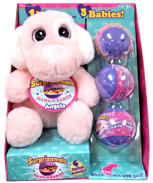 Surprizamals Mama & Baby Angela Set [Dog Plush & 3 Mystery Packs]