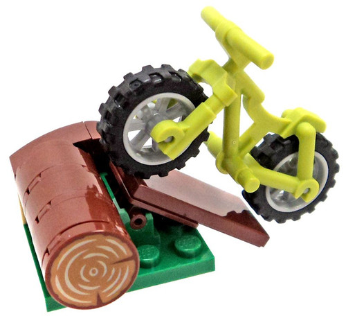LEGO City Loose Mini Vehicles Lime Green Mountain Bike with Ramp Over Log [Loose]