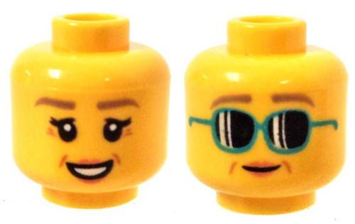 Crow's Feet, Peach Lips, Smile / Dark Turquoise Sunglasses Minifigure Head [Dual-Sided Print Loose]