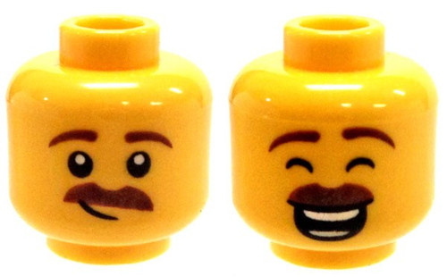 Brown Moustache, Large Smile with Eyes Closed / Smirk Minifigure Head [Dual-Sided Print Loose]
