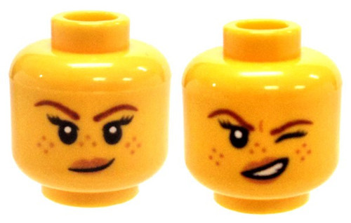 Freckles and Small Smirk / Left Eye Squinted Minifigure Head [Dual-Sided Print Loose]