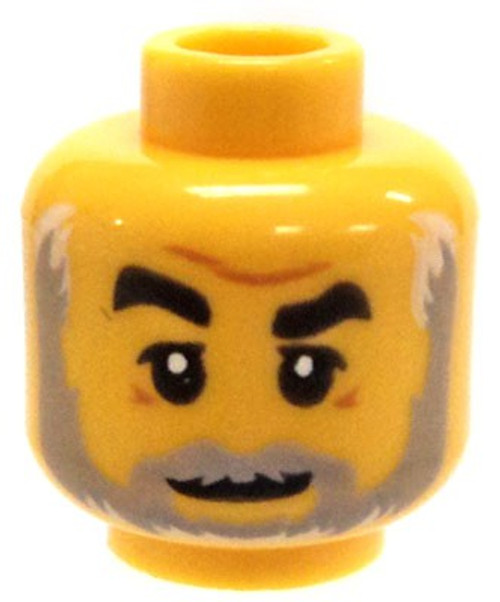 Furrowed Brow, Crows Feet, Light Bluish Gray Beard Minifigure Head [Loose]