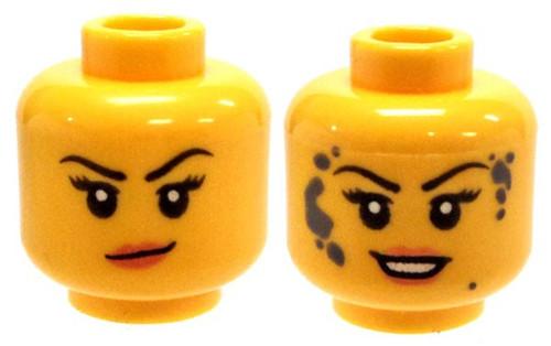Peach Lips, Smirk / Smile with Dark Bluish Gray Mud Splotches Minifigure Head [Dual-Sided Print Loose]