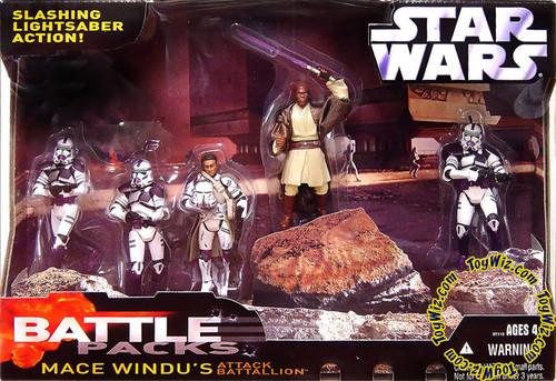 Star Wars The Clone Wars Battle Pack Mace Windu's Attack Battalion Exclusive Action Figure Set