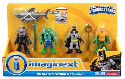 Fisher Price DC Super Friends Imaginext Batman Heroes & Villains K. Croc, Black Manta, Batman & Aquaman 3-Inch Mini Figure 4-Pack [Loose]
