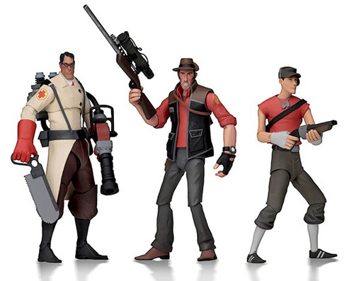 NECA Team Fortress 2 RED Series 4 Sniper, Scout & Medic Set of 3 Action Figures