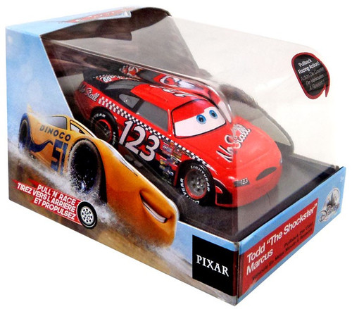 """Disney / Pixar Cars Cars 3 Pull 'N' Race Todd """"The Shockster"""" Marcus Exclusive Diecast Car"""