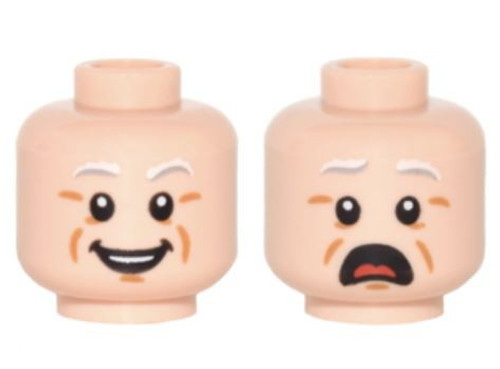 Light Gray Eyebrows, Cheek Lines, Smile / Scared Minifigure Head [Dual-Sided Loose]