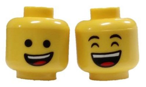 Lopsided Smile / Laughing Minifigure Head [Dual-Sided Print Loose]