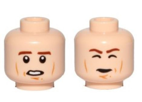 Star Wars Cheek Lines, Open Mouth / Closed Eyes Carbonite (Han Solo) Minifigure Head [Dual-Sided Loose]