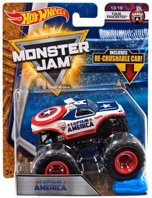 Hot Wheels Monster Jam 25 Captain America Die-Cast Car #13/19 [Tour Favorites]