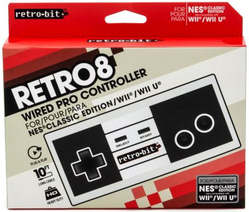 Nintendo Retro 8 NES Classic Wired Pro Controller Video Game Controller [Classic Color]