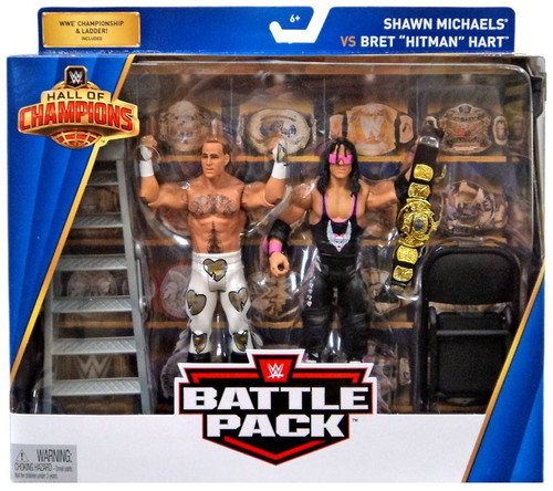 "WWE Wrestling Battle Pack Hall of Champions Shawn Michaels vs Bret ""Hitman"" Hart Action Figure 2-Pack"