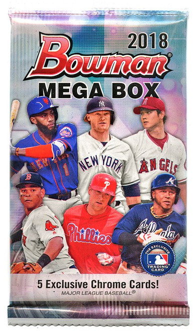MLB Topps 2018 Bowman Chrome Baseball Trading Card MEGA BOX Pack [5 Exclusive Cards!]