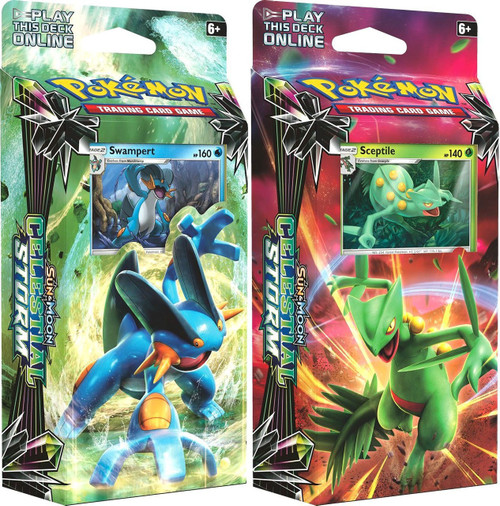 Pokemon Trading Card Game Sun & Moon Celestial Storm Leaf Charge & Hydro Fury Set of Both Theme Decks [Swampert & Sceptile]