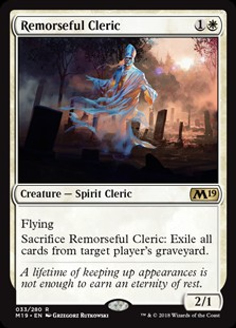 MtG 2019 Core Set Rare Remorseful Cleric #33