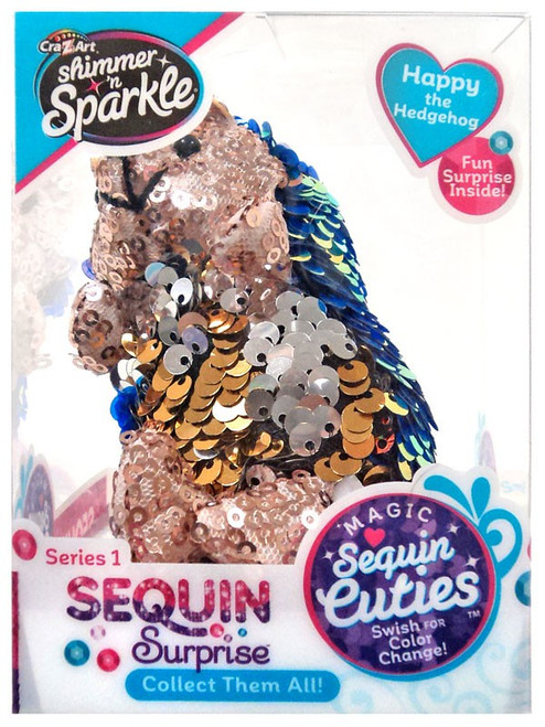 Shimmer 'n Sparkle Magic Sequin Cuties Sequin Surprise Series 1 Happy the Hedgehog Mini Plush