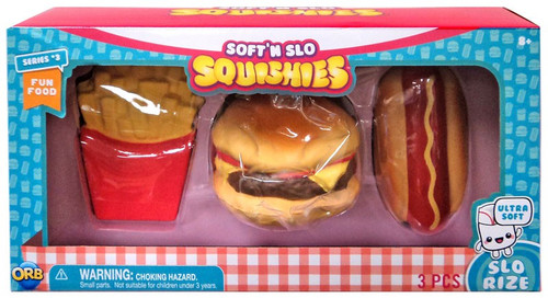Soft'N Slow Squishies Series 3 French Fries, Hamburger & Hot Dog Squeeze Toy 3-Pack